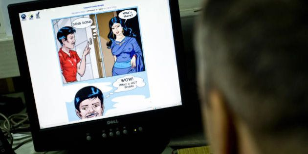 TO GO WITH STORY India-society-Internet-pornography BY YASMEEN MOHIUDDIN A picture taken on July 27, 2009 shows an online cartoon of Savita Bhabhi displayed on the screen of a computer at an undisclosed location. In the land of the Kama Sutra, it was the animated escapades of a buxom, sexually liberated married woman that finally proved a taboo too far for the Indian government censors. But Savita Bhabhi, the star of the online cartoon porn strip that titillated up to 60 million visitors monthly until the government asked Internet service providers to block the site in June, lives on in the form of heated debate surrounding her sudden demise. AFP PHOTO (Photo credit should read AFP/AFP/Getty Images)