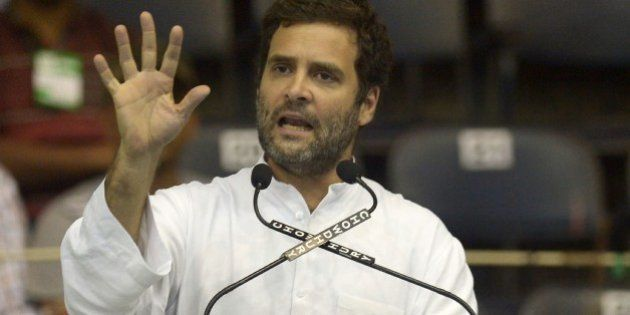 Congress party vice president Rahul Gandhi addresses Congress workers during a rally at the Netaji Indoor...
