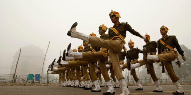 Paramilitary soldiers of Indo Tibetan Border Police or ITBP practice near the India Gate monument ahead...