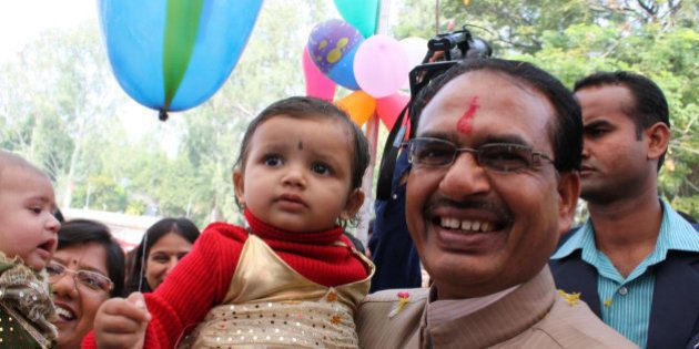 In this photograph taken on October 5, 2011, Chief Minister for the central Indian state of Madhya Pradesh...
