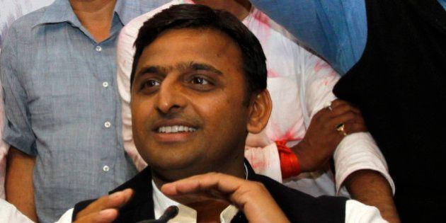 Akhilesh Yadav, Samajwadi Party leader and son of the party President Mulayam Singh Yadav, attends a...