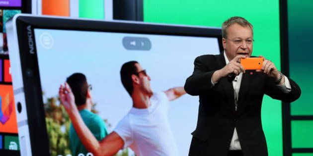 SAN FRANCISCO, CA - APRIL 02: Nokia executive vice president Stephen Elop takes a picture using the new...