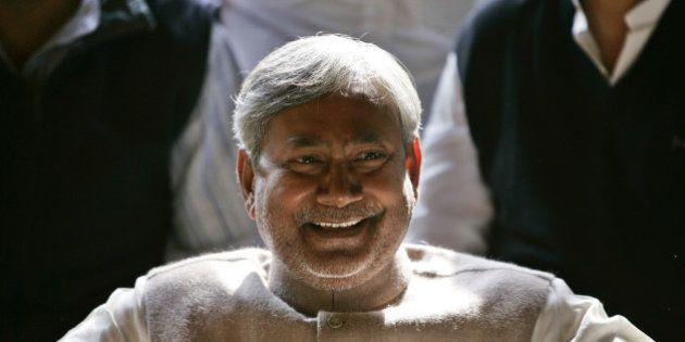 Janata Dal (United) leader Nitish Kumar smiles at press conference after the National Democratic Alliance...