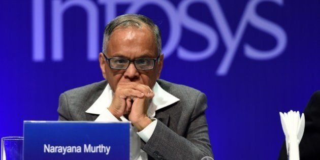 Outgoing chairman of Infosys, N.R. Narayana Murthy watches proceedings during the 33rd Annual General...