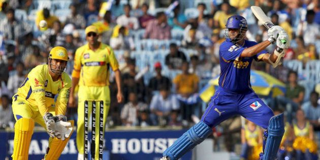 Rajasthan Royals' Rahul Dravid bats during the Indian Premier League (IPL) match against Chennai Super...