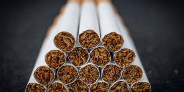 BRISTOL, ENGLAND - JUNE 10: A close-up view of cigarettes on June 10, 2015 in Bristol, England. Health...
