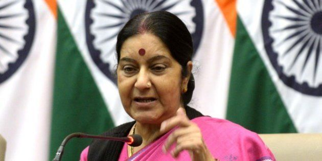 Indian Foreign Minister Sushma Swaraj gestures as she addresses media representatives in New Delhi on...