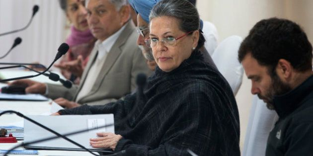 India's opposition Congress party President Sonia Gandhi presides over the Congress Working Committee...