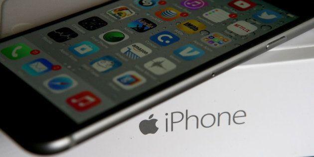 SAN ANSELMO, CA - JANUARY 27: An Apple iPhone sits on a box on January 27, 2015 in San Anselmo, California....