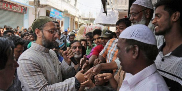 All India Majlis Ittehadul Muslimeen (AIMIM) president Asaduddin Owaisi, left, contesting in the parliamentary...