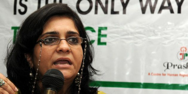Secretary of The Citizens for Justice and Peace (CJP) Teesta Setalvad addresses media representatives...