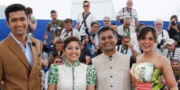 (From L) Indian actor Vicky Kaushal, Indian actress Shweta Tripathi, Indian director Neeraj Ghaywan and...