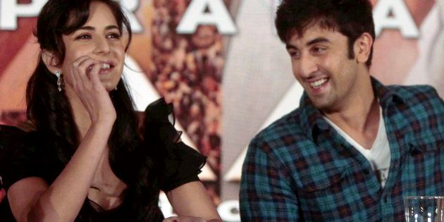 Bollywood actors Katrina Kaif, left, and Ranbir Kapoor look on during a press conference on their new...