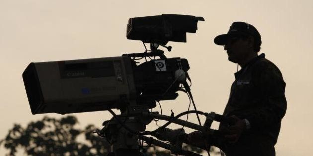 India's national TV channel. Taking up vantage camera