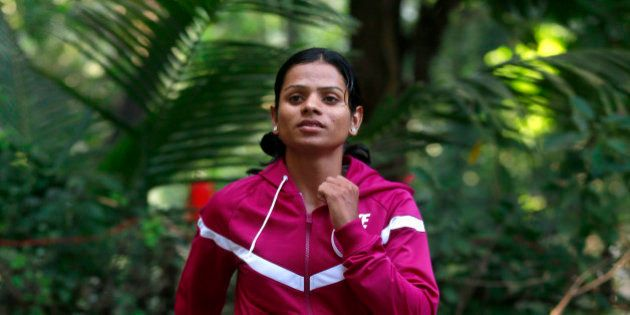 In this Wednesday, Oct. 29, 2014 photo, Indian athlete Dutee Chand poses for the Associated Press in...
