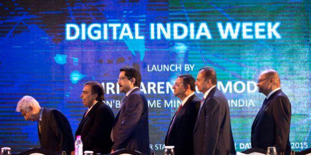 From left to right, Indian industrialists Azim Premji, Mukesh Ambani, Kumar Mangalam Birla, Cyrus Mistry,...