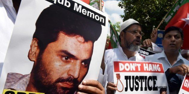 Indian protesters shout slogans during a protest against the death sentence of convicted bomb plotter...