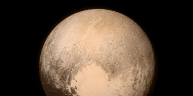 This July 13, 2015 image provided by NASA shows Pluto, seen from the New Horizons spacecraft. The United...