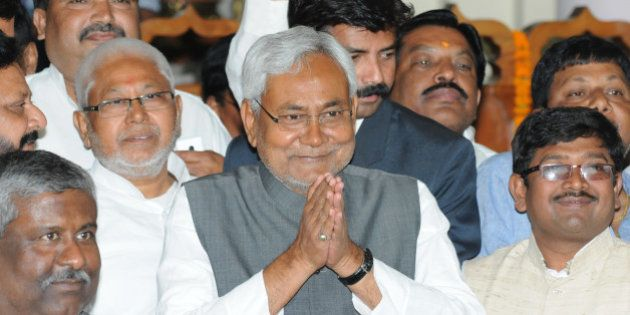 PATNA, INDIA MARCH 11: Bihar Chief Minister Nitish Kumar greets his MLAs before the confidence motion...