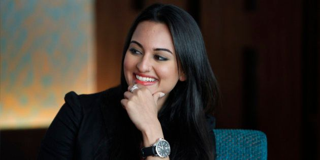 Bollywood actress Sonakshi Sinha looks on during a promotional event of her upcoming Hindi