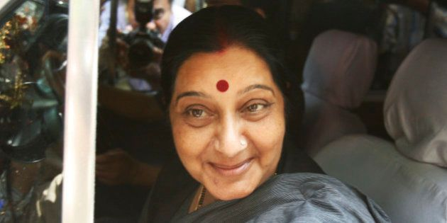Bharatiya Janata Party (BJP) leader Sushma Swaraj arrives for a meeting at the residence of BJP's Prime...