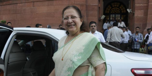 NEW DELHI, INDIA - AUGUST 3: Lok Sabha Speaker Sumitra Mahajan coming out after talking to media persons...