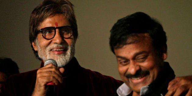 Indian actor Amitabh Bachchan, left, and Telugu film industry super star Chiranjeevi address the media...