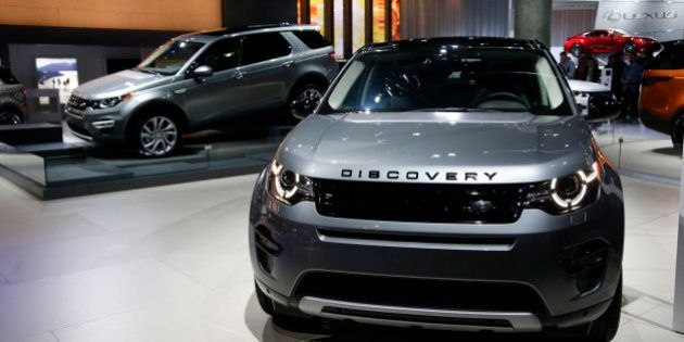 The 2015 Land Rover Discovery Sport compact SUVs are shown at the Los Angeles Auto Show Wednesday, Nov....