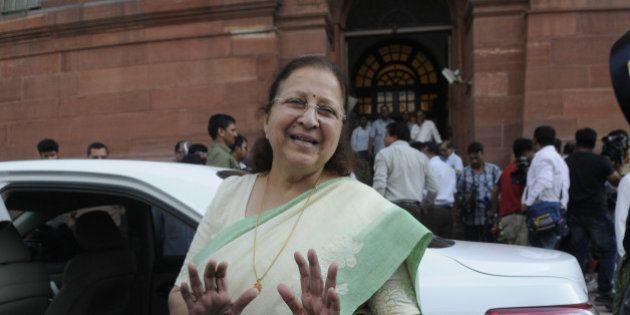NEW DELHI, INDIA - AUGUST 3: Lok Sabha Speaker Sumitra Mahajan coming out after talking to media persons...
