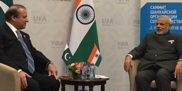 UFA, RUSSIA - JULY 10: Pakistani Prime Minister Muhammad Nawaz Sharif (L) and India's Prime Minister...
