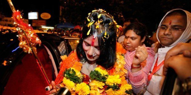 MUMBAI, INDIA - AUGUST 27: (file photo) Radhe Maa, self-proclaimed Godwoman, visits Siddhivinayak Temple,...