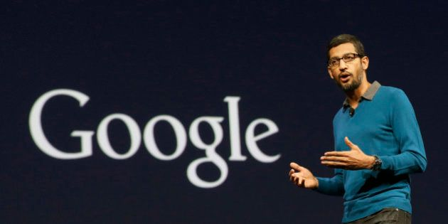 Sundar Pichai, senior vice president of Android, Chrome and Apps, speaks during the Google I/O 2015 keynote...