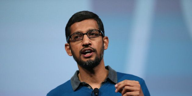 SAN FRANCISCO, CA - MAY 28: Google senior vice president of product Sundar Pichai delivers the keynote...