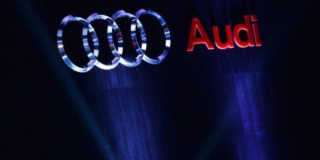 The Audi logo is seen at the launch of the new Audi TT car in the Indian capital New Delhi on April 23,...