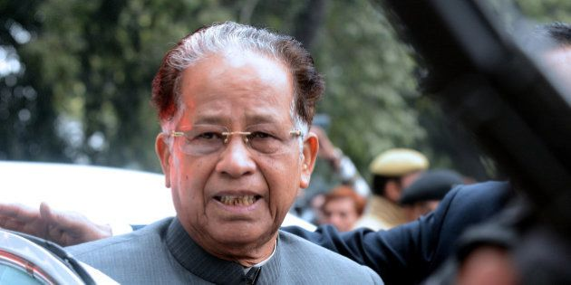 Chief Minister of the north-eastern Indian state of Assam Tarun Gogoi arrives to attend a Congress Party...