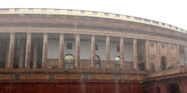 NEW DELHI, INDIA - AUGUST 11: Heavy rain at Parliament House during the monsoon session on August 11,...