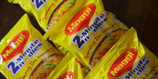 Packets of Maggi 2-Minute Noodles, manufactured by Nestle India Ltd., are arranged for a photograph in...