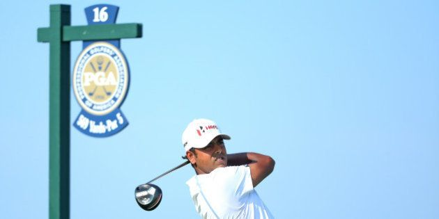 SHEBOYGAN, WI - AUGUST 16: Anirban Lahiri of India plays his shot from the 16th tee during the final...