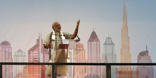 Indian Prime Minister Narendra Modi delivers a speech to members of the Indian expatriate community in...