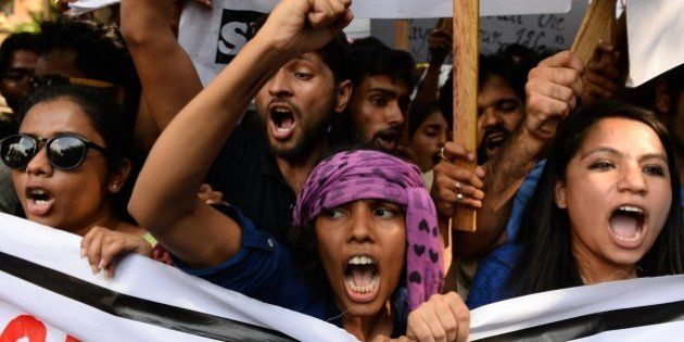 Indian students from the Film and Television Institute of India (FTII), along with other student activists,...