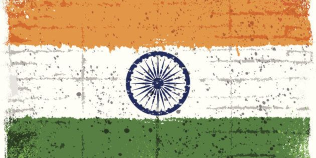 Grunge Indian flag. Clipping mask used. 'Multiply' used for chakra symbol on the