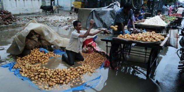 An Indian vegetable vendor removes potatoes from his tarpaulin after heavy monsoon rains inundated a...