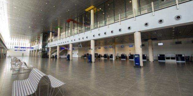 Check-in counters in the terminal of the Spanish 'ghost airport' Castellon are pictured near Castellon...