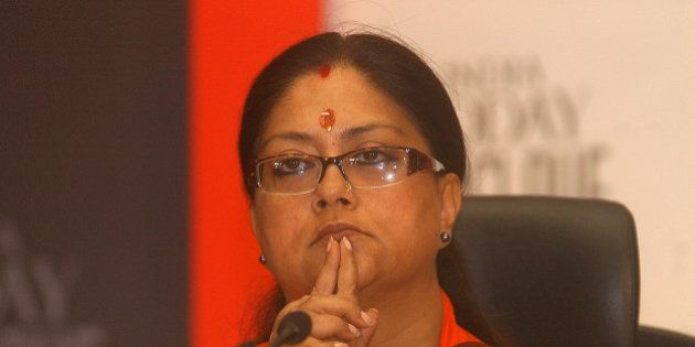 Chief Minister of Rajasthan state Vasundhara Raje Scindia looks on during the India Today Conclave titled...