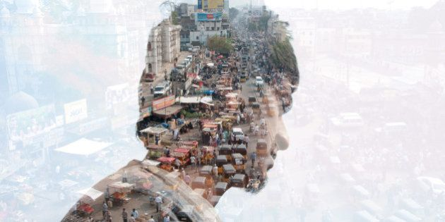 Double exposure of a man and India
