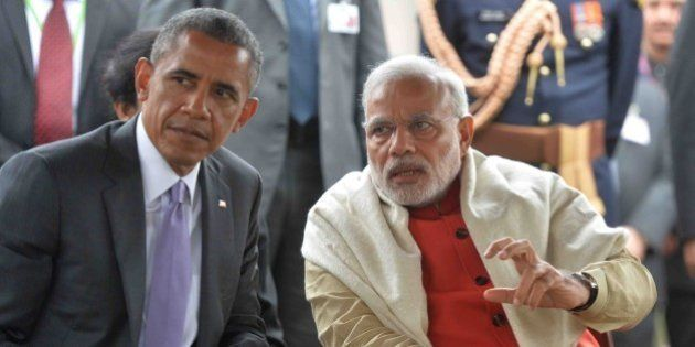 NEW DELHI, INDIA - 2015/01/26: The Prime Minister of India, Narendra Modi (right), with President Barack...