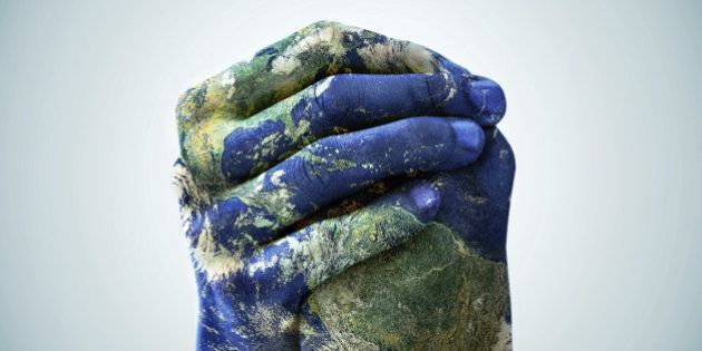 A cropped shot of hands painted to look like the