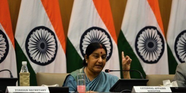 Indian Foreign Affairs Minister Sushma Swaraj gestures during a press conference in New Delhi on August...