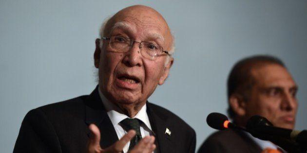 Pakistan Prime Minister Adviser on National Security and Foreign Affairs, Sartaj Aziz addresses a press...