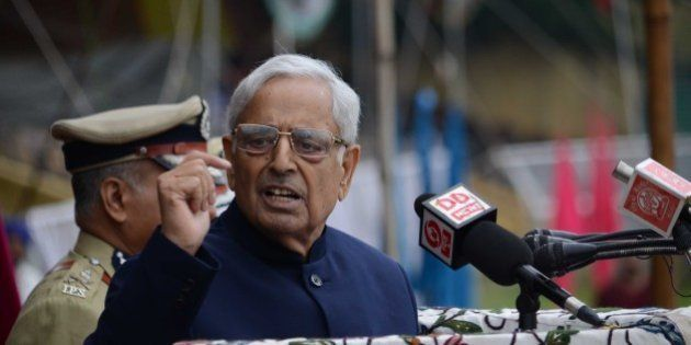 KASHMIR, INDIA - AUGUST 15: Kashmir's chief minister Mufti Mohammad Sayeed delivers a speech the official...
